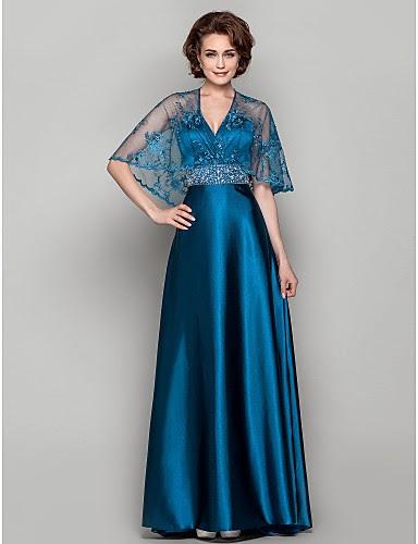 Vestido Madrina Satén Azul con Encaje