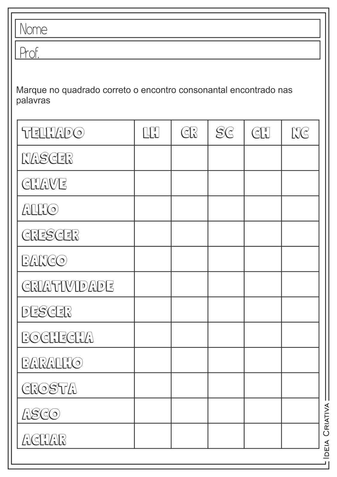 Atividades Educativas Língua Portuguesa Encontros Consonantais para Ensino Fundamental