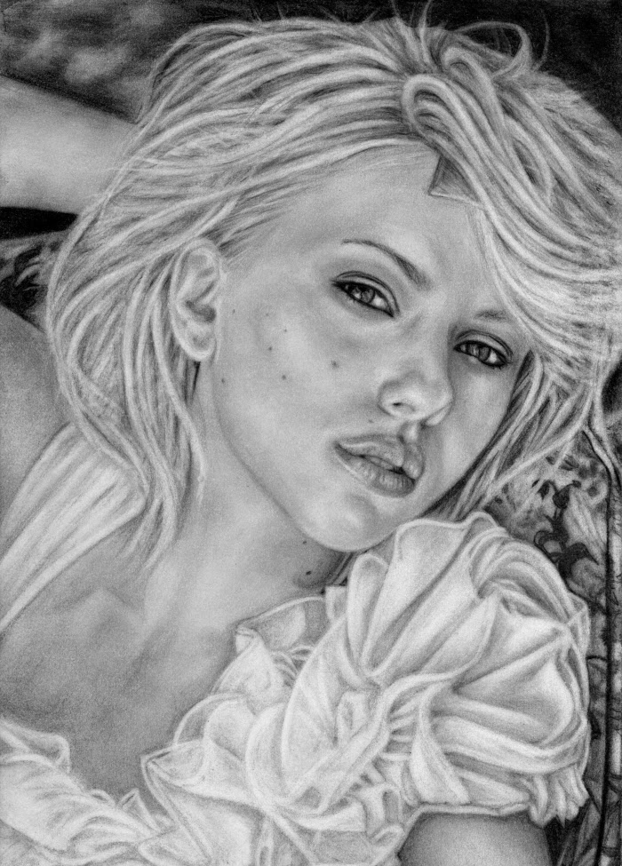 Scarlett Johansson original, highly realistic drawing by Dean Sidwell. Size A4