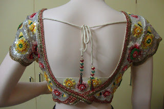 fashion EMBROIDERY BACK NECK BLOUSE