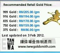 HARGA PASARAN KEDAI EMAS (fgjam) MALAYSIA Emas 916 - RM194/g + upah