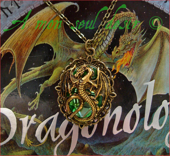Collier dragon or bronze doré vert green necklace medieval fantasy Targaryen Smaug
