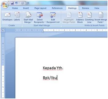 Bukaprogram Microsoft Word, buat dokumen seperti screenshot dibawah ...