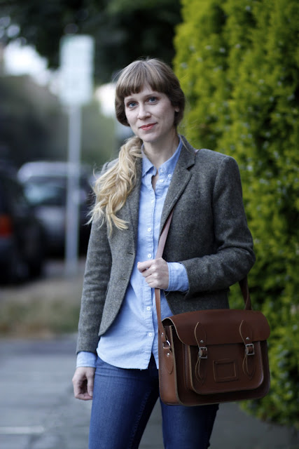 Melanie Maltray leather Messenger bag Seattle Street Style Bangs