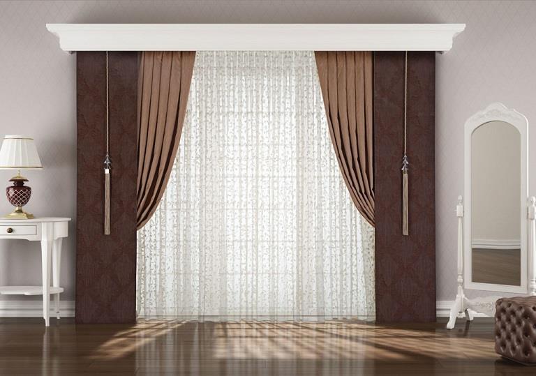 Perde kahverengi yaprak desenli simli modern salon perde modeli - Kahverengi Perde Submited Images