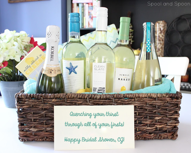 """All of Your Firsts"" Wine Gift Basket -- the PERFECT bridal shower or wedding gift! Could easily be changed up for other momentous occasions, too!"