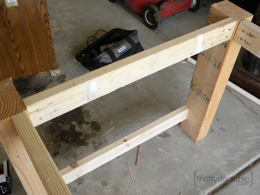 Now, Secure Your Bottom 2x6 Pieces (69 Inches Long) To The Bottom (below  Picture). Connect Them To The 2x4 That Is Held In The Notches On The Leg.