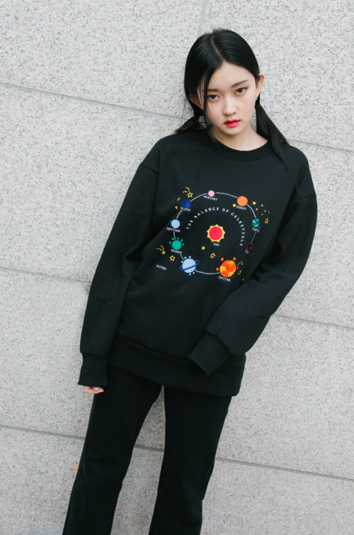 Hide and Seek Embroidered Space Theme Sweatshirt