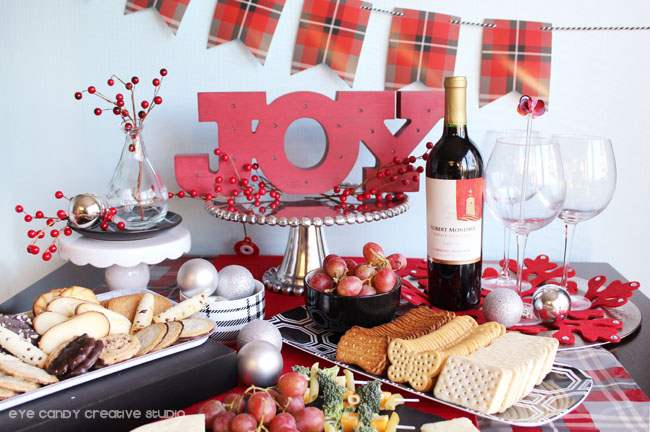 holiday pairings, joy, plaid table, holiday party tips, entertaining ideas