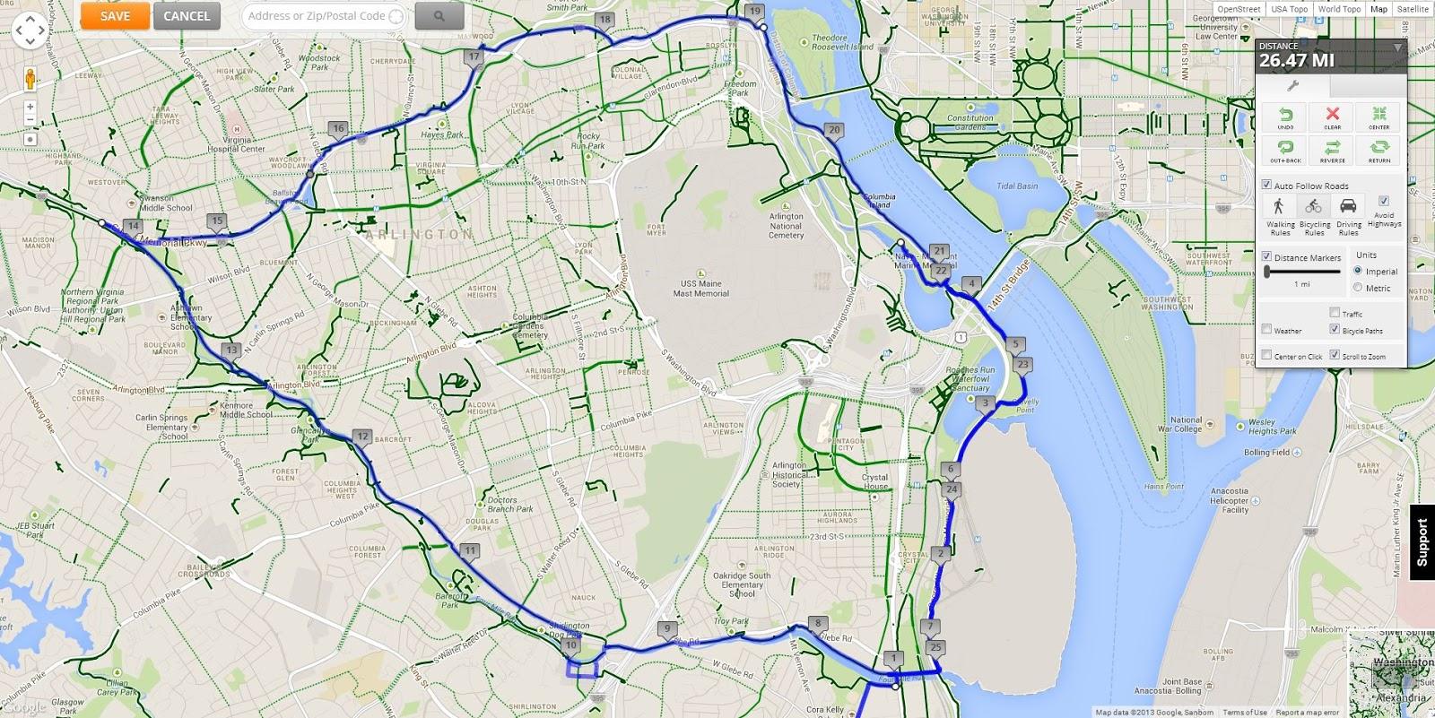 Del Ray to DC Riv Ride Arlington Loop