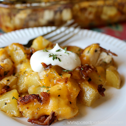 Cheesy, bacony goodness come together in this Loaded Chicken and Potato Casserole!