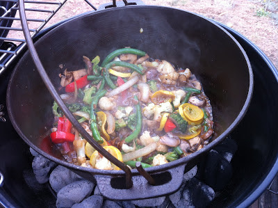 camping dutch oven veggies with onion soup and parmesan cheese www.thebrighterwriter.blogspot.com
