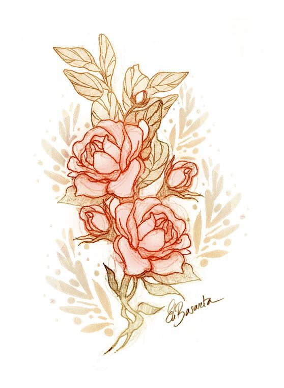 dibujo de rosas de sant jordi