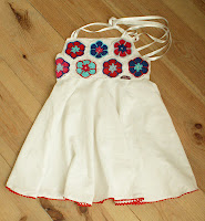 circle skirt, dress, flowers, crochet, blue, red