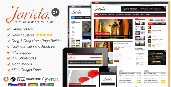 Download Free Jarida v2.2.1 Responsive WordPress Theme