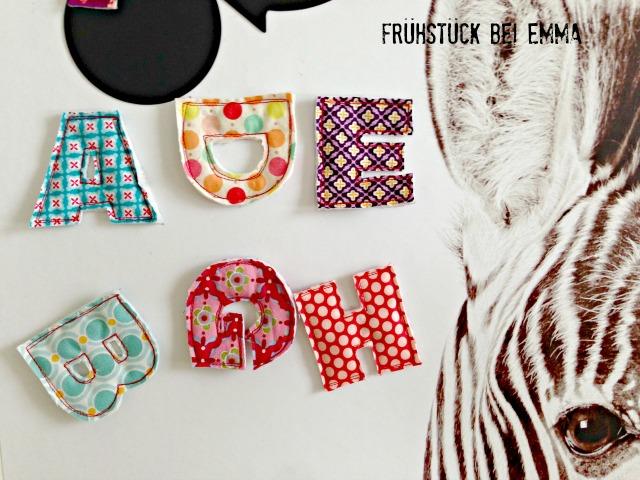 genähte Stoffbuchstaben mit Magnet Buchstabenmagnete Frühstück bei Emma