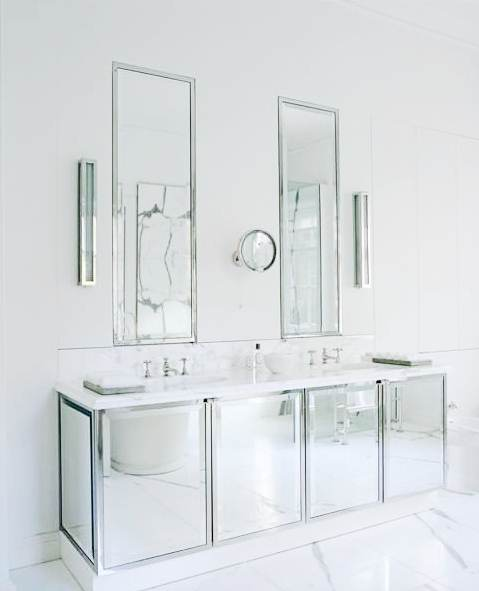 sleek and modern take on mirrored sink cabinets