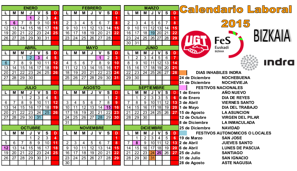 Sección Sindical UGT Indra Bizkaia: Calendario Laboral 2015 View ...