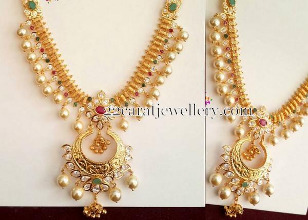 39 Grams Pearls Hanging Gold Set