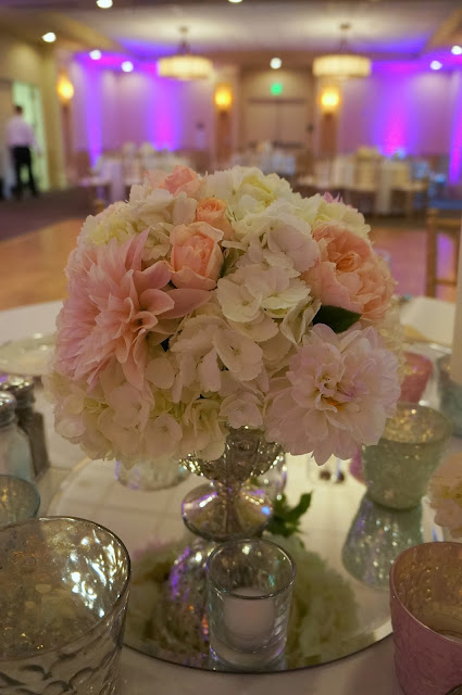 Blush White Peach Wedding Centerpiece