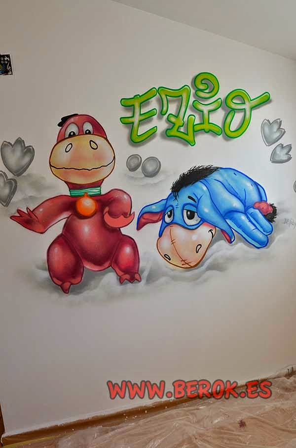 Mural infantil Winnie the Pooh y Dino picapierdras