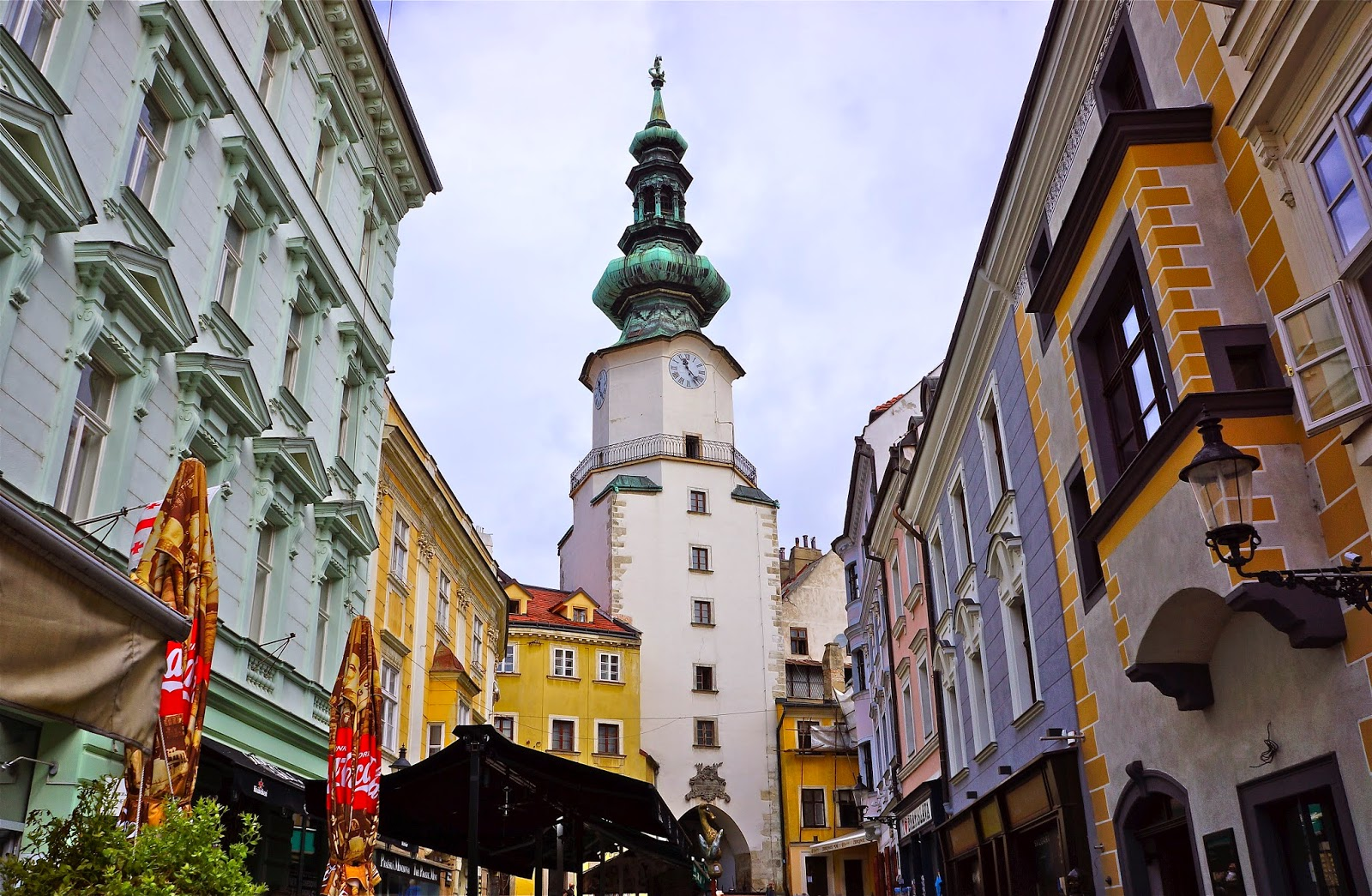 Picture of Michael's Gate and the clock tower in Bratislava.