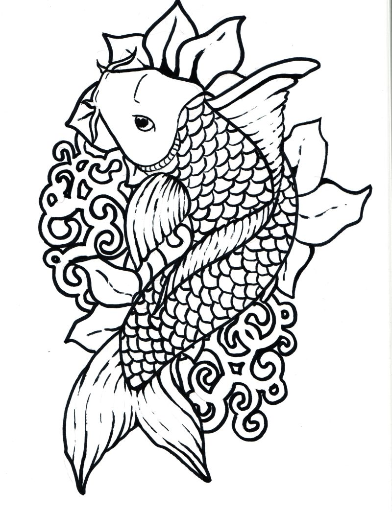 japanese fish coloring pages - photo#4