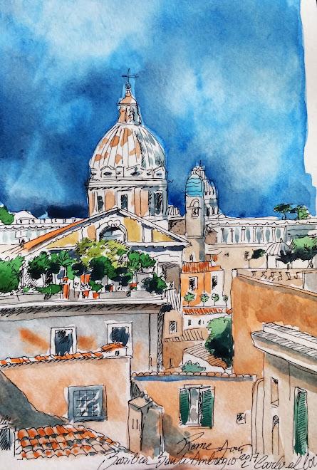 Carnet de voyage, Rome, Basilica dei Santi Ambrogio e Carlo al Corso