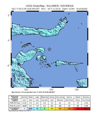 Epicentro sismo Sulawesi, Indonesia, el 17 de Diciembre de 2012