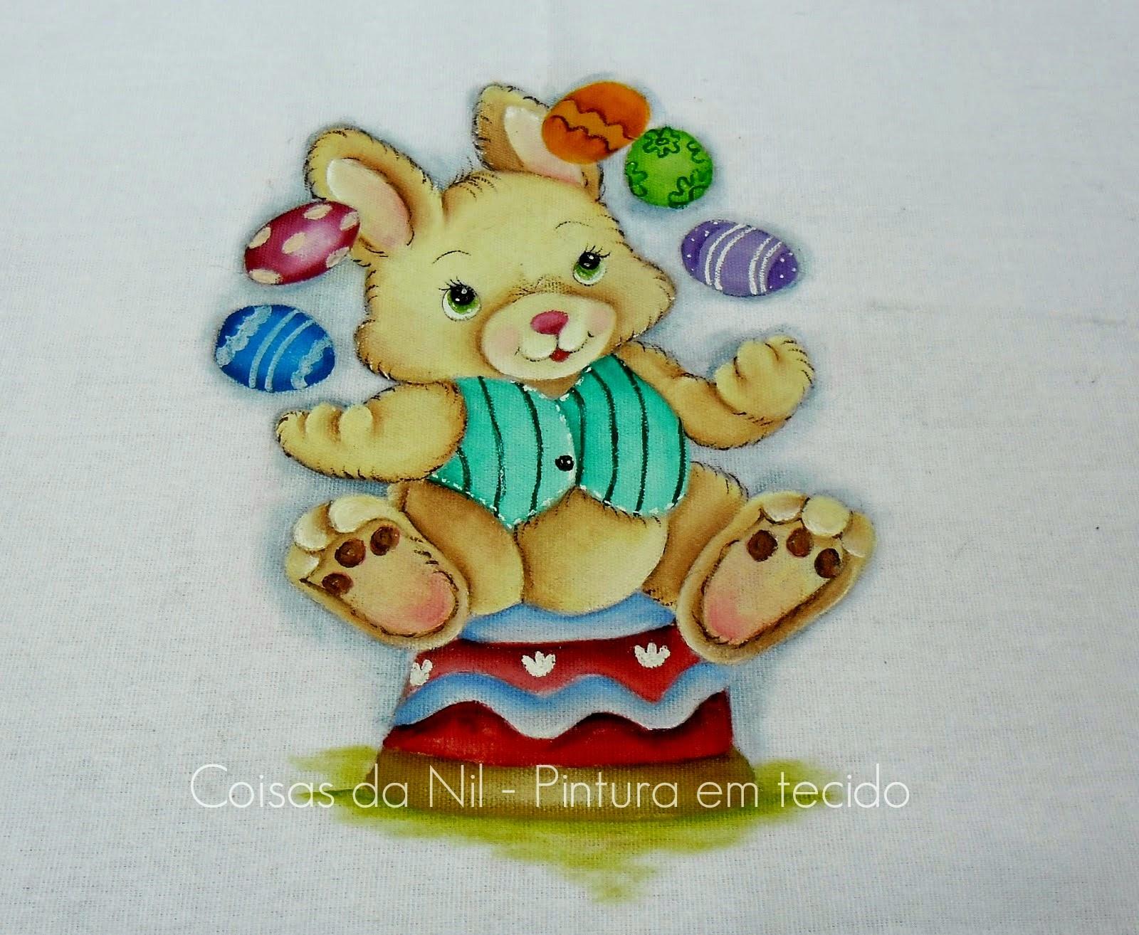 pintura tecido de pascoa coelhinho malabarista