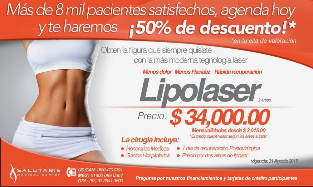 Paquete de lipolaser lipoescultura liposuccion laser en Salutaris Guadalajara Mexico