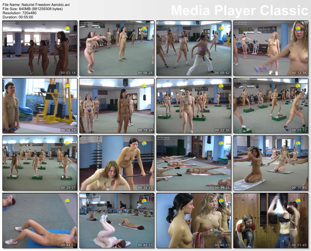 Male nudist aerobic exercises
