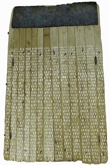 trillo, la parte inferior. madera, piedras de silex y chapa, dibujo