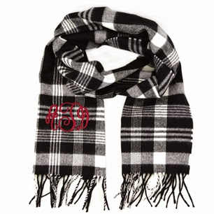 Plaid Monogram Cashmere Feel Fringe Scarf from emilyrosejewellery