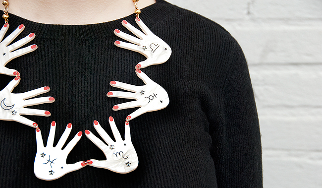 tatty devine, seance hands, statement necklace