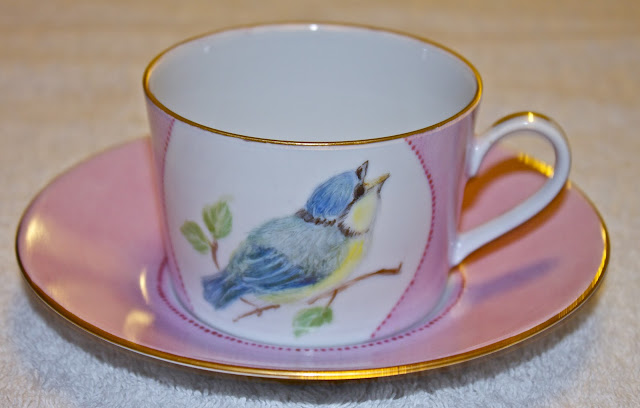 china, porcelain, tea cup, hand painted, birds, blue tit