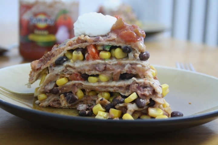 7-Layer Three Bean Tortilla Pie