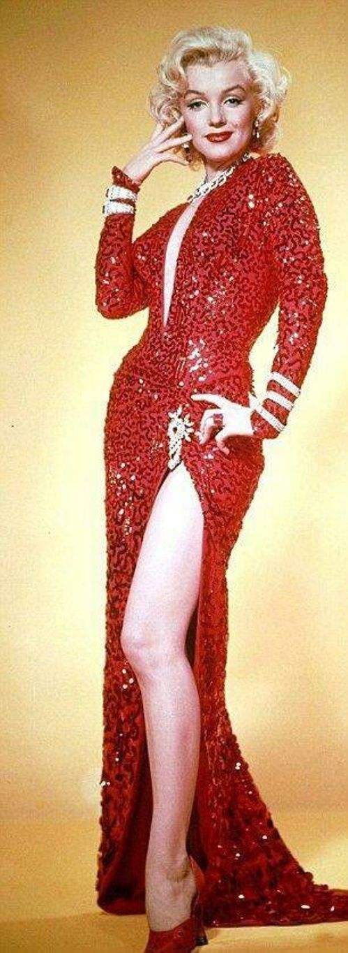 Marilyn Monroe wears her iconic sprarkling red dress in Gentlemen Prefer Blondes
