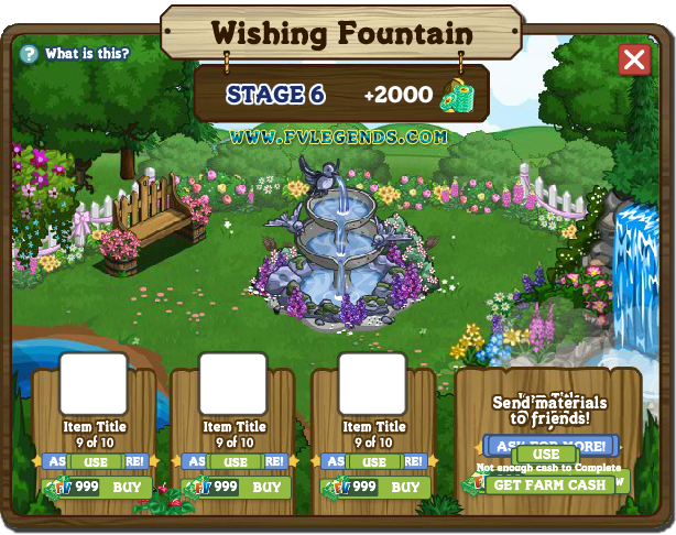 FarmVille Wishing Fountain Look Inside