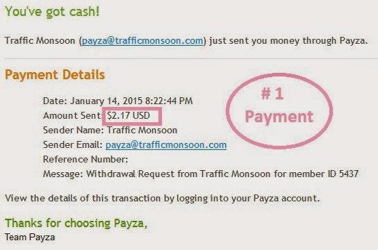 trafficmonsoon اثبات الدفع لموقع ربح المال