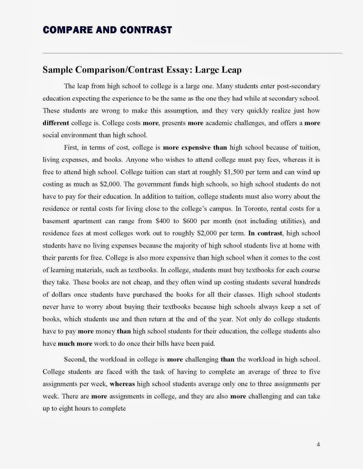 compare and contrast subjects for essay