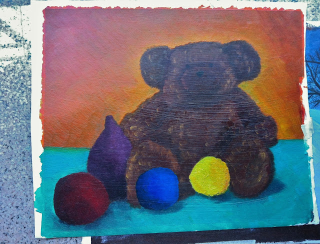 teddy bear oil painting