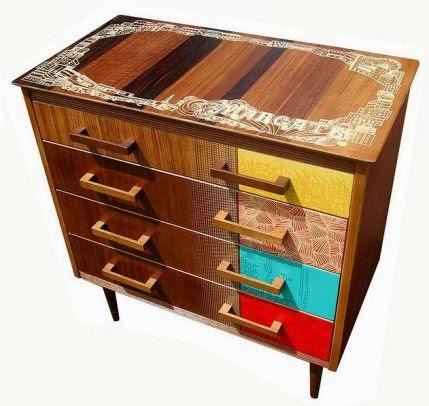 Mueble fabricado con tecnica patchwork