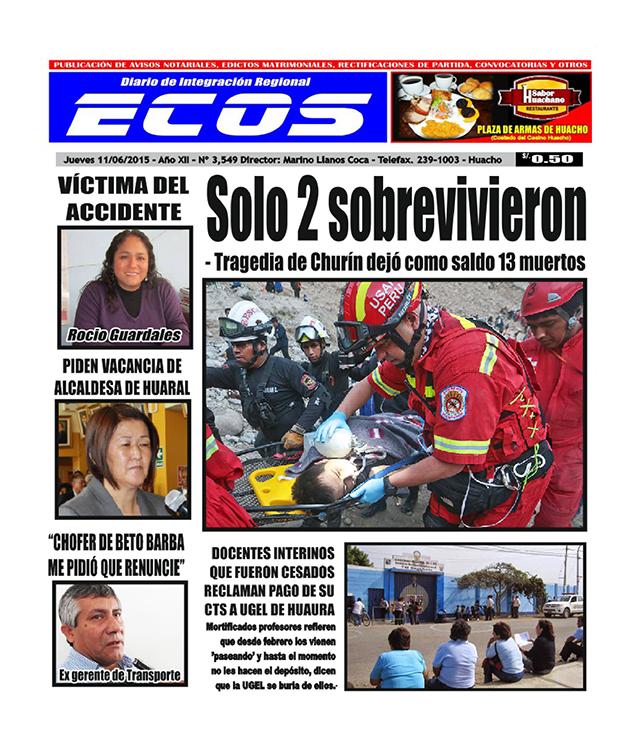 Esta es la edición del Diario ECOS jueves 11 de junio del 2015