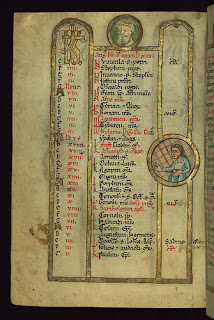 Calendar for August from a thirteenth-century psalter produced in the diocese of Augsburg.  Illuminated, and decorated with images of a tonsured man and a young woman, representing the astrological sign virgo. Walters Art Museum, MS W.78, fol. 6v.