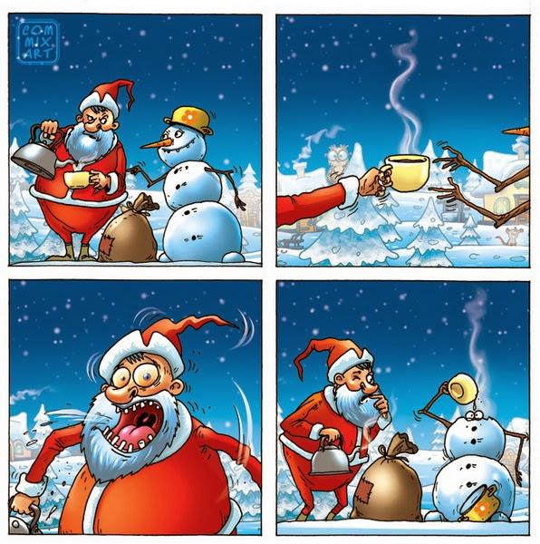 Снеговик, дед мороз и чашка горячего чая
