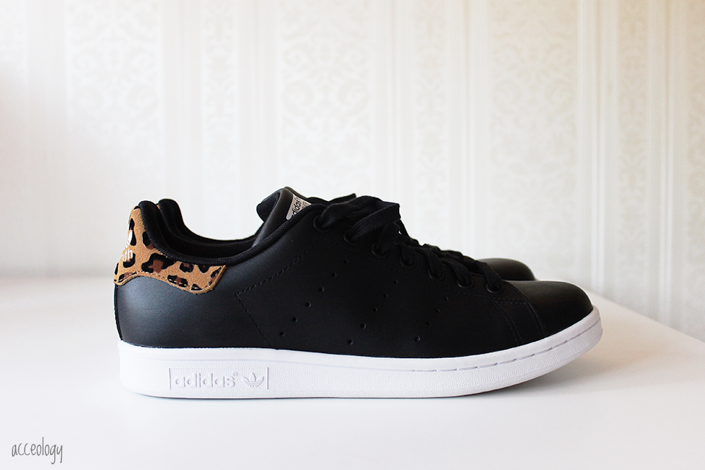 black leather leopard adidas stan smith