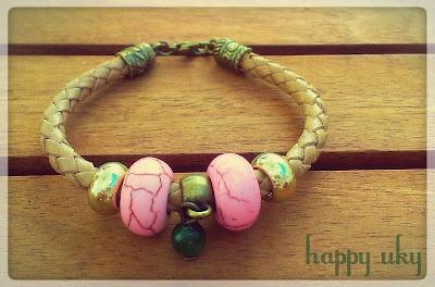 pulseras bracelets happy uky cuero rosa verde