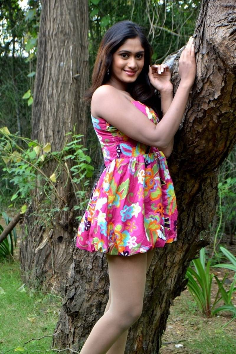 Actress Lavanya Latest Cute Hot Pink Floral Mini Skirt Dress Spicy Thighs Show Photoshoot Gallery