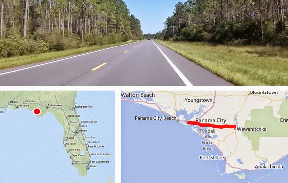 Entfernung  MAP Karte Panama City Beach nach Wewahitchka, Florida USA